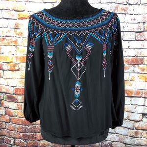 Parker Tribal Pattern Black Off the Shoulder Top